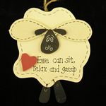 Sheep Plaque Wood (Ewe Can Sit Relax And Gossip)