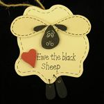 Sheep Plaque Wood (Ewe The Black Sheep)