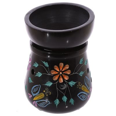 Flower & Butterfly Black Soapstone Oil Burner