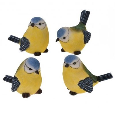 Blue Tit Set of Four Small Resin Ornaments
