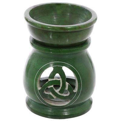 Green Celtic Design Soapstone Oil Burner Large