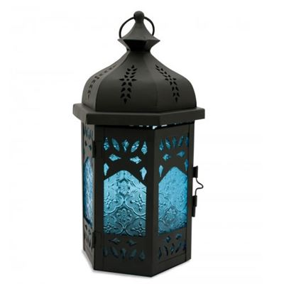 Blue & Black Metal Lantern Large