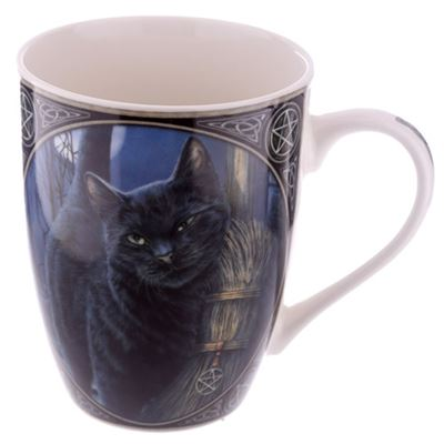Cat with Broom China Mug by Lisa Parker