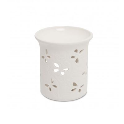 Oil Burner White with Butterfly Pattern