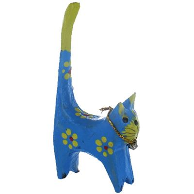 Blue Decorative Cat  Ring Holder Fair Trade