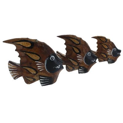 Fish Set of Three Painted Wood Fair Trade