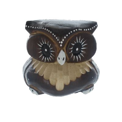 Brown Carved Owl Fair Trade 6cm