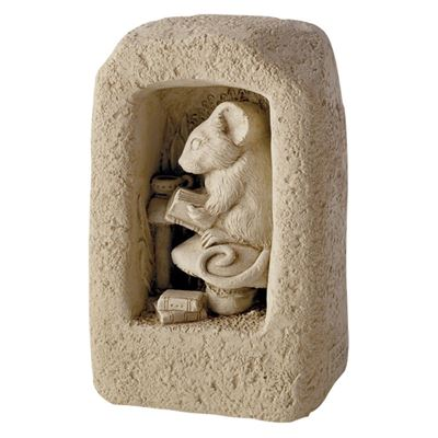 Book Mouse Cast Stone Decoration in Gift Box