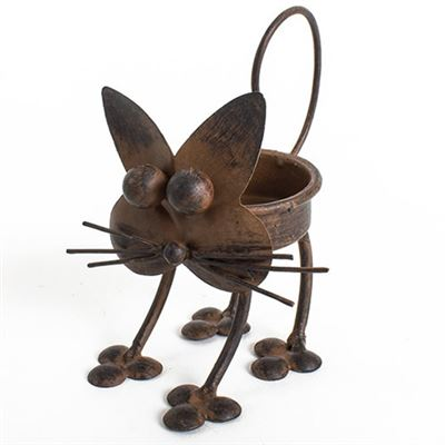 Cat Tea Light Holder Rustic Metal