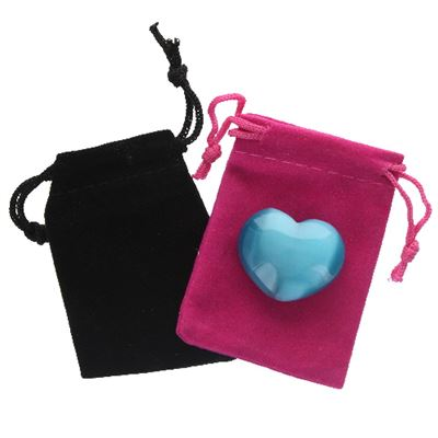 Turquoise Cat's Eye Heart in Pouch