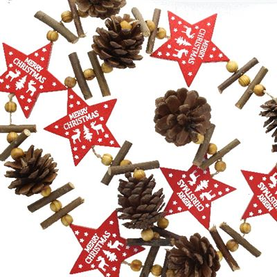 Cone Garland with Red Stars 110cm