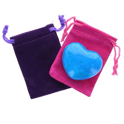 Blue Howlite Heart Large in Pouch