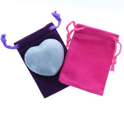 Blue Quartz Heart Large in Pouch