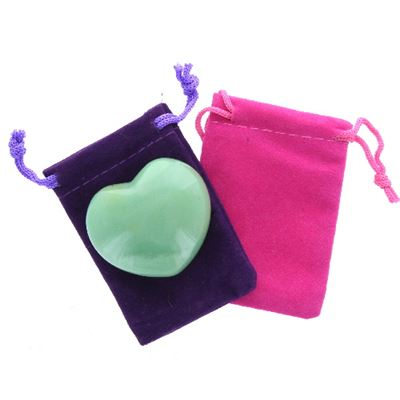 Green Aventurine Heart Large in Pouch
