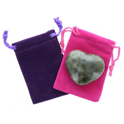 Labradorite Heart Large in Pouch