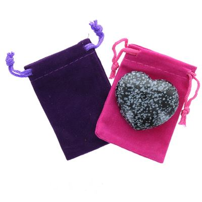 Snowflake Obsidian Heart Large in Pouch