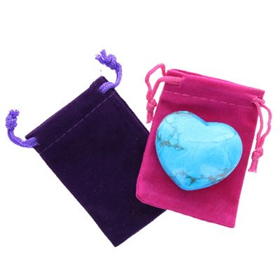 Turquoise Howlite Heart Large in Pouch