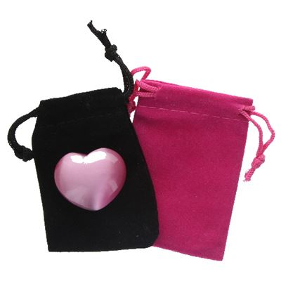 Pink Cat's Eye Heart in Pouch
