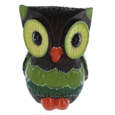 Brown, Green & Orange Owl Fair Trade Extra Large 20cm