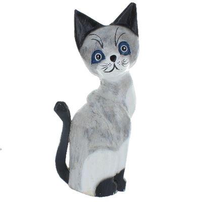 Cat with Blue Eyes Fair Trade Large 39cm Tall