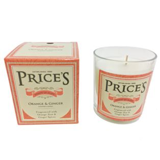 Orange & Ginger Candle in Glass Jar by Price's