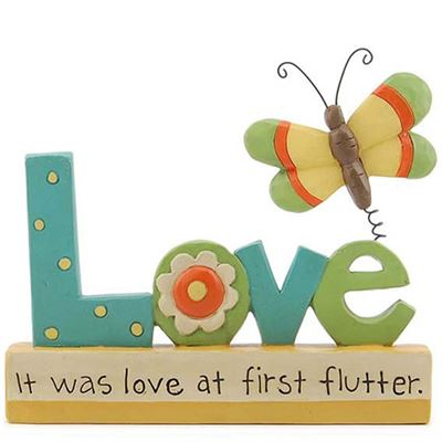 It Was Love At First Flutter Resin Block