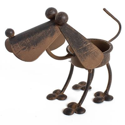 Dog Tea Light Holder Rustic Metal