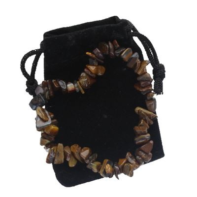 Tiger's Eye Chip Bracelet in Gift Pouch