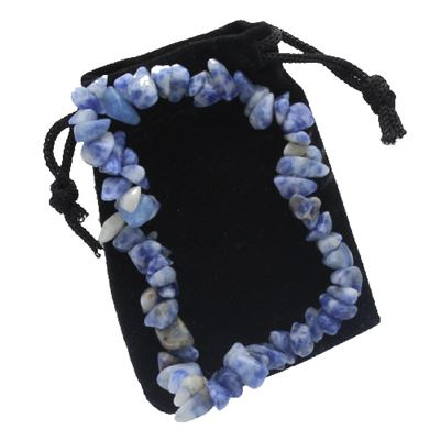 Sodalite Chip Bracelet in Gift Pouch