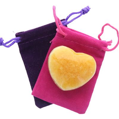 Orange Calcite Heart Large in Pouch