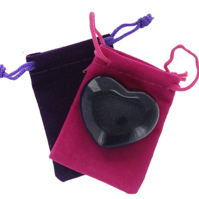 Blue Goldstone Heart Large in Pouch