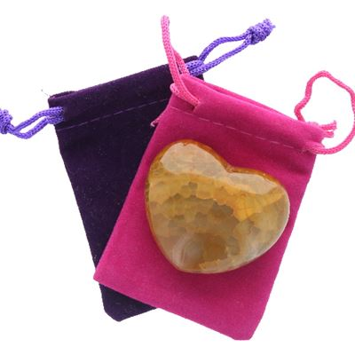 Fire Agate Heart Large in Pouch