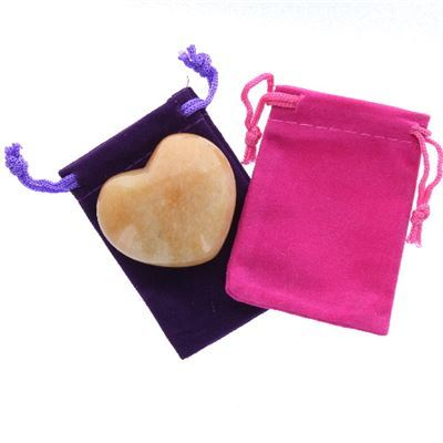 Peach Aventurine Heart Large in Pouch