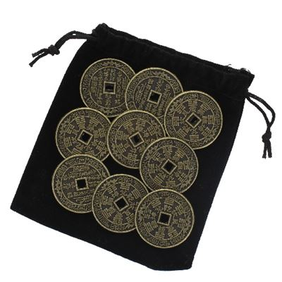 Lucky Feng Shui Chinese Coins Set of 9 in Black Pouch
