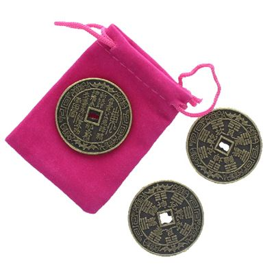 Lucky Feng Shui Chinese Coins Set of 3 in Pink Pouch