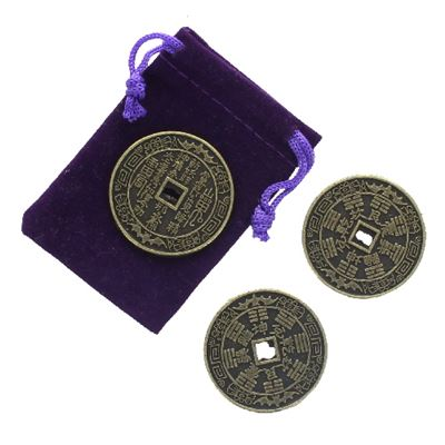 Lucky Feng Shui Chinese Coins Set of 3 in Purple Pouch