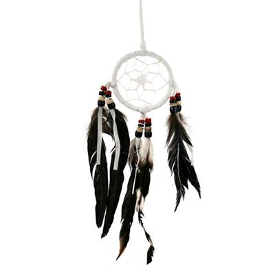 Dream Catcher with Coconut Beads & Black Feathers Small