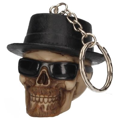 Skull Key Ring with Hat and Glasses