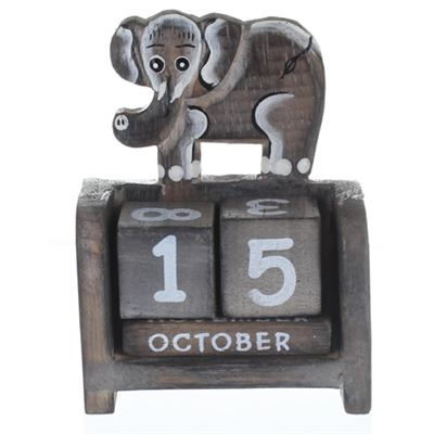 Elephant Calendar Light Wood (A)