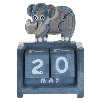Elephant Calendar Blue Wood (B)