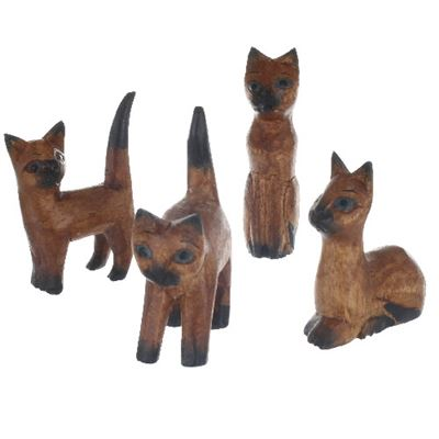 Cats In Assorted Poses Dark Wood Set of Four
