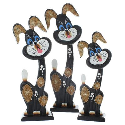 Comical Wood Dog Large Set of Three