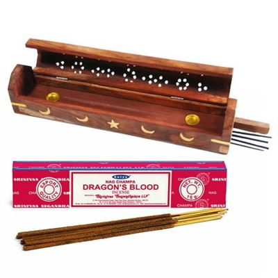 Moon, Sun & Star Smoke Box with Free Satya Dragon's Blood Incense Stick