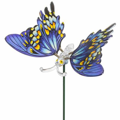 Blue Realistic Butterfly Plant Pot Stick