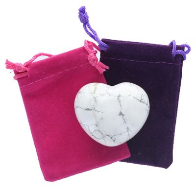 Heart Large White Howlite in Pouch
