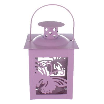 Butterfly Candle Holder Lantern Pink Pastel