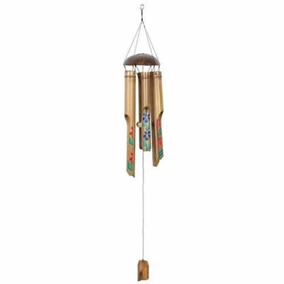 Bamboo Windchime Coloured Flowers Design