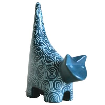 Peacock Blue Soapstone Cat Fair Trade