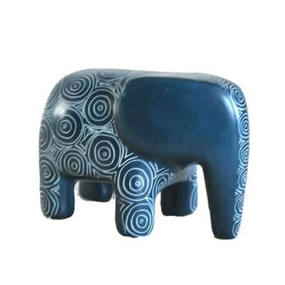 Peacock Blue Soapstone Elephant Fair Trade