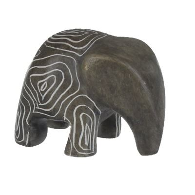 Elephant Stood Small Soapstone Carving with Info Card